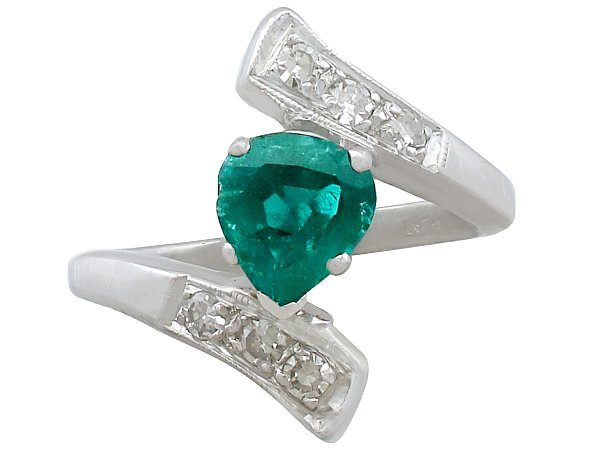 0.89 ct Emerald and 0.24 ct Diamond, Platinum Dress Ring - Vintage Circa 1950