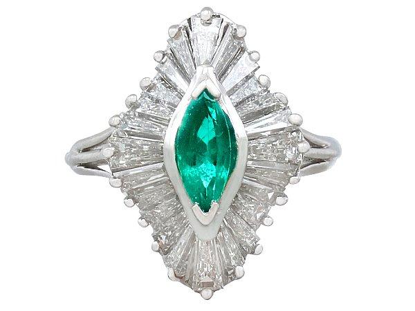 0.60ct Emerald and 1.85ct Diamond, Platinum Marquise Ring - Vintage Circa 1970