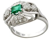 0.55ct Emerald and 0.46ct Diamond, 14ct White Gold Dress Ring - Vintage Circa 1950