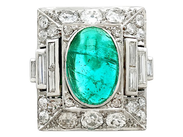 3.40ct Emerald and 2.72ct Diamond, Platinum Cocktail Ring - Antique Circa 1935