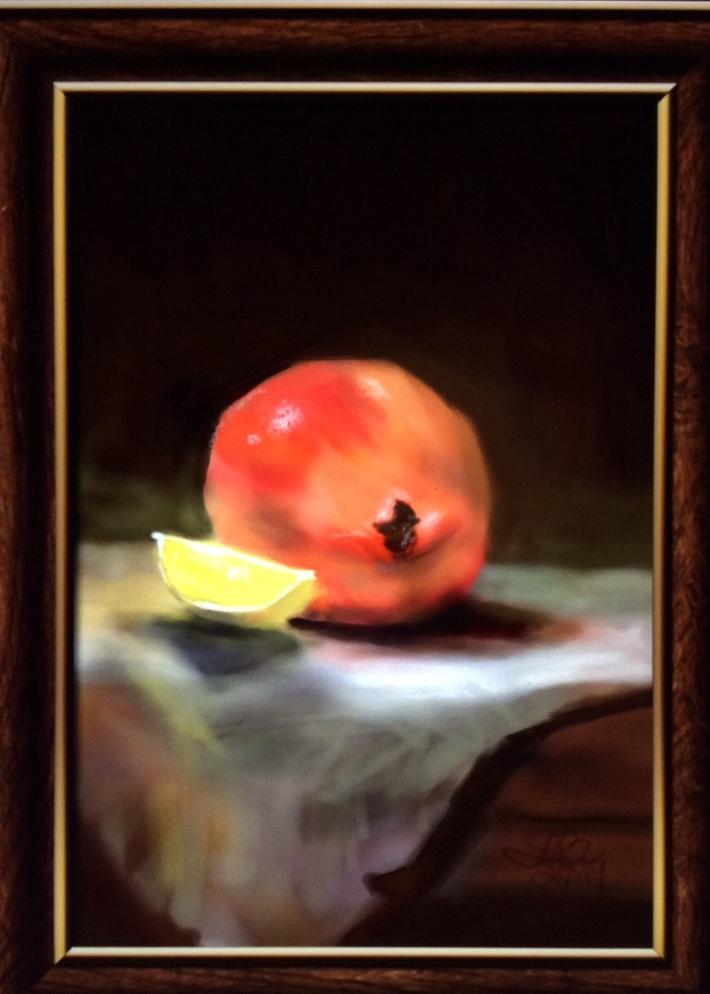 Lemon wedge and Pomegranate.   IPastels