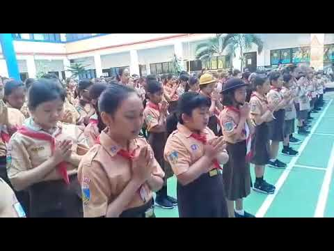 IN BALI INDONESIA, ANANDA MARGA SCHOOL STUDENTS CHANTING MANTRA BABA NAM KEVALAM