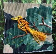 Bird sketch with threads