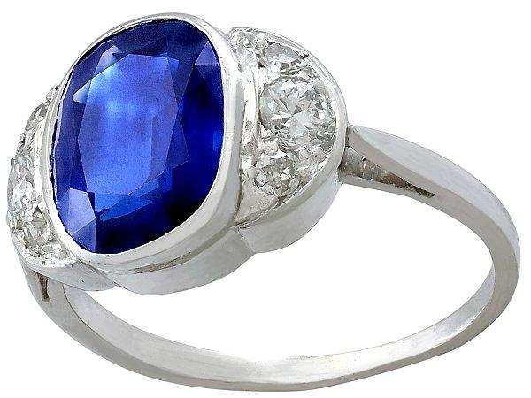 3.75ct Sapphire and 0.50ct Diamond, 9ct White Gold Dress Ring - Antique Circa 1930