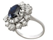 4.05ct Sapphire and 2.10ct Diamond, 18ct White Gold Cluster Ring - Vintage Circa 1960