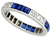 0.96ct Sapphire and 0.40ct Diamond, 18ct White Gold Full Eternity Ring - Vintage Circa 1970