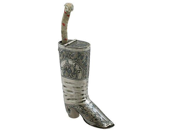 Russian Silver 'Boot' Vesta Case and Taper Holder - Antique Circa 1855