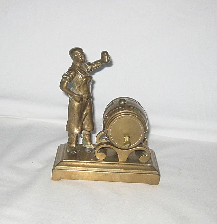 Brass Man and Beer Keg Vintage Figurine