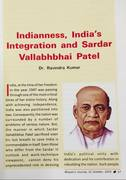 Dr. Ravindra Kumar: Indianness, India's Integration and Sardar Vallabhbhai Patel, Bhavan's Journal, Mumbai, October 31, 2019 (1)