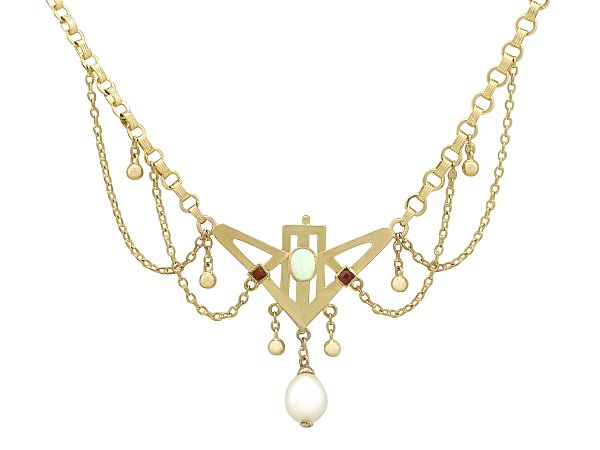0.32 ct Opal and Ruby, 9 ct Yellow Gold Necklace - Art Nouveau - Antique Circa 1900