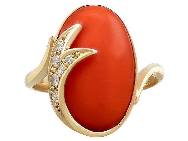 5.42ct Coral and 0.18ct Diamond, 14ct Yellow Gold Dress Ring - Vintage Circa 1980