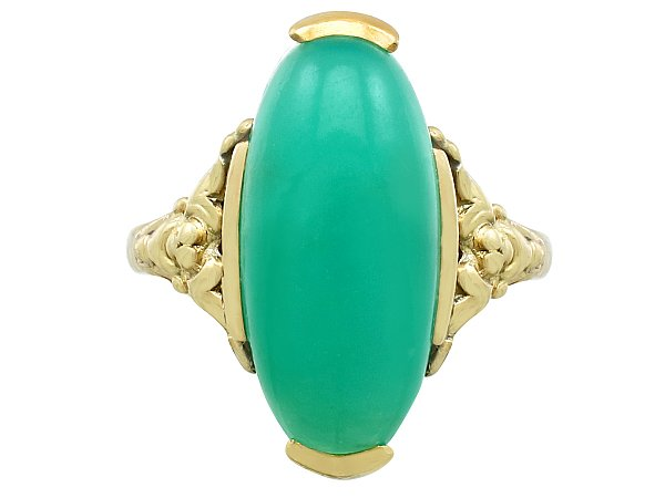 6.60ct Chrysoprase and 14ct Yellow Gold Dress Ring - Antique Circa 1930