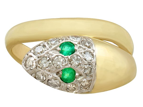 0.10ct Emerald and 0.40ct Diamond, 18ct Yellow Gold Snake Ring - Vintage Circa 1960