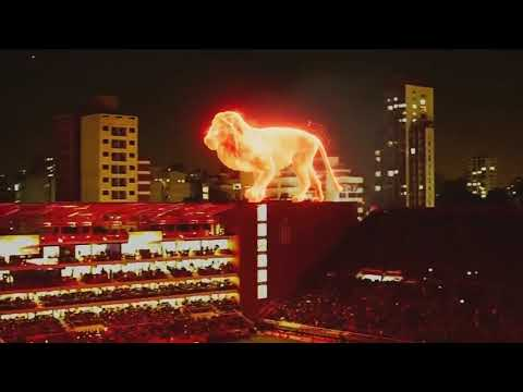 Giant Burning Lion Hologram at Football/Soccer Game