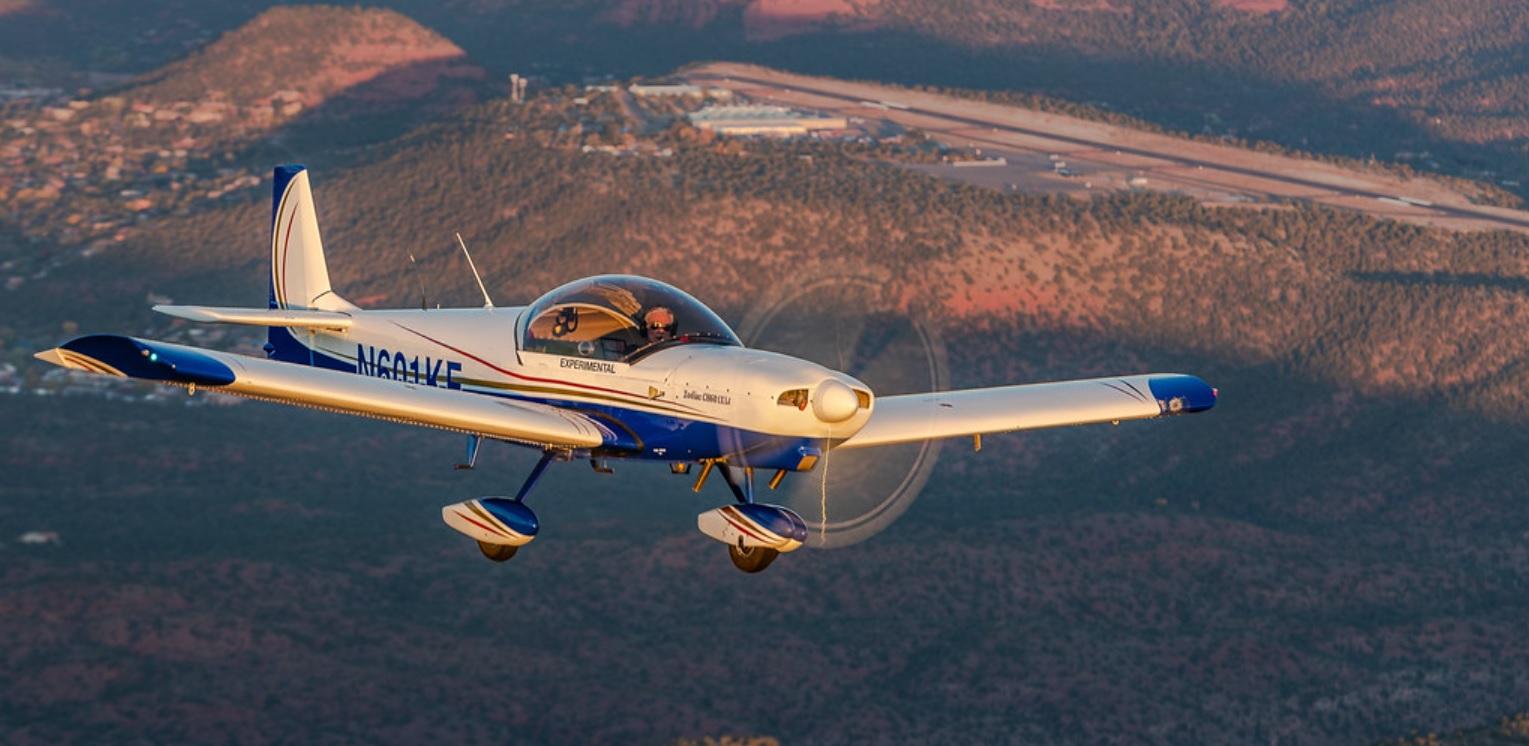 N601KE Over Sedona Airport at Sunset
