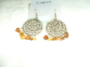 Bronze Quilling Rounds with Faux Amber Earrings