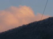 mountain and cloud and wire