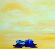 Yellow Sky and Beach, Two Blue Boats 3x3
