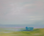 Green Boat with fog 2x3