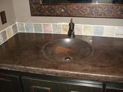 Bathroom vanity with integral lavatory