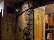 Finished kitchen corner exposed stone