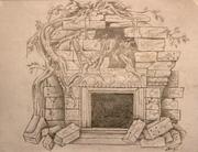 Myan themed fireplace surround.