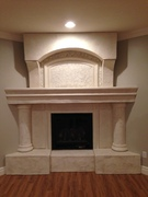 Hand carved concrete fireplace