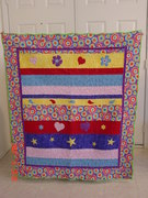 Flannel Strip-Ease Quilt with Applique