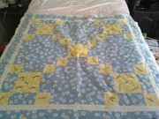 baby quilt blue daisy print