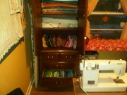 Armoire with fabric