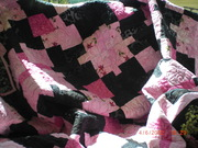 pink and black nine patch toss