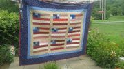 Flag quilt on clothesline
