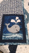 Whale quilt - signature block (on whale)