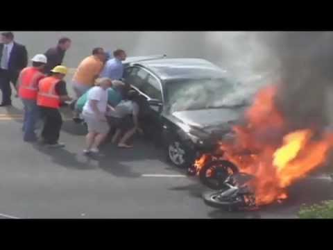 Everyday Heroes - Bystanders Save Man Trapped Under Burning Car