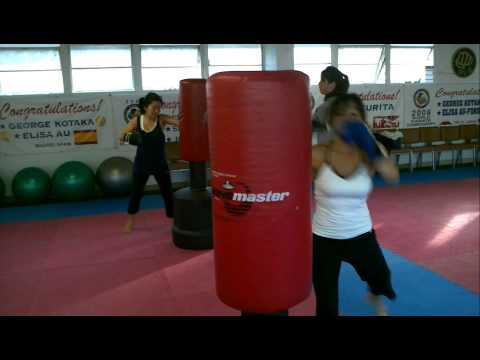 Allison & Carrie-Ann Team HK women's kickboxing