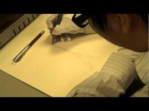 韓玉青老師於實踐大學-創意開發與設計素描示範巴黎艾菲爾鐵塔徒手畫