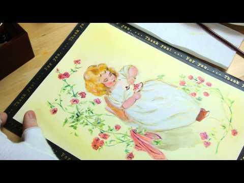畫一張復古風格明信片 - 小女孩與玫瑰