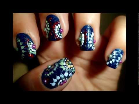 Pretty Abstract Dotted Semi-circles Nail Art for Short Nails!