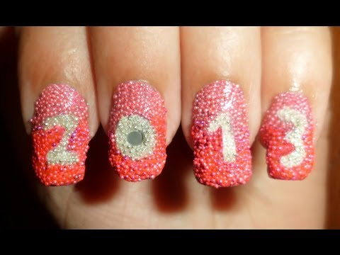 Winner - Yummy Pink Caviar New Year 2013 Nails My entry to Designer Nail Products Big Blast Contest