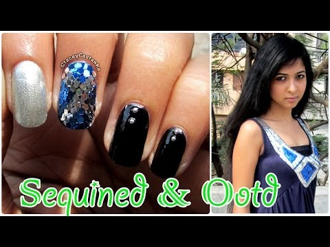 Blue Sequined NailArt tutorial & Blue OOTD
