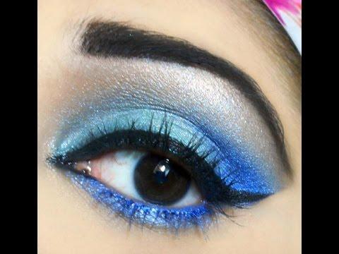 Bright Blue Eye Makeup step by step Tutorial!