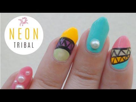 Japanese Tribal Neon Nail Art