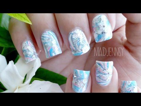 Japanese Water Marble Inspired Nail Art