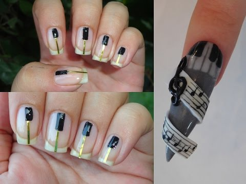 Piano Nail Art For Eid with HotPinkZebraPolish & Leneha Junsu
