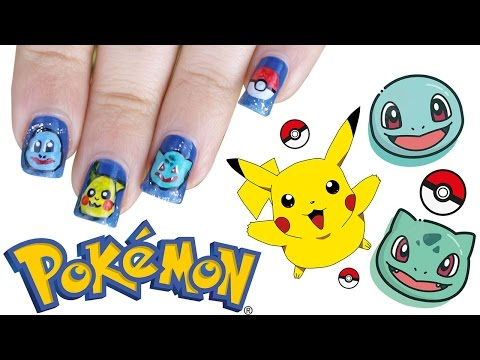 Pokemon Nail Art ★ Pikachu ★ Squirtle ★ Bulbasaur ★