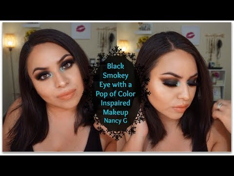 Black Smokey Eye with a Pop of color | Inspired Makeup look | Nancy G