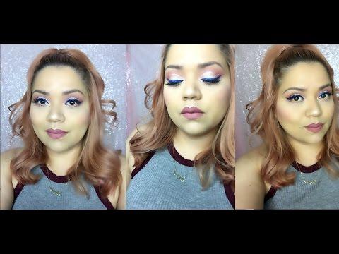 Peach Cut Crease  Blue Eyeliner