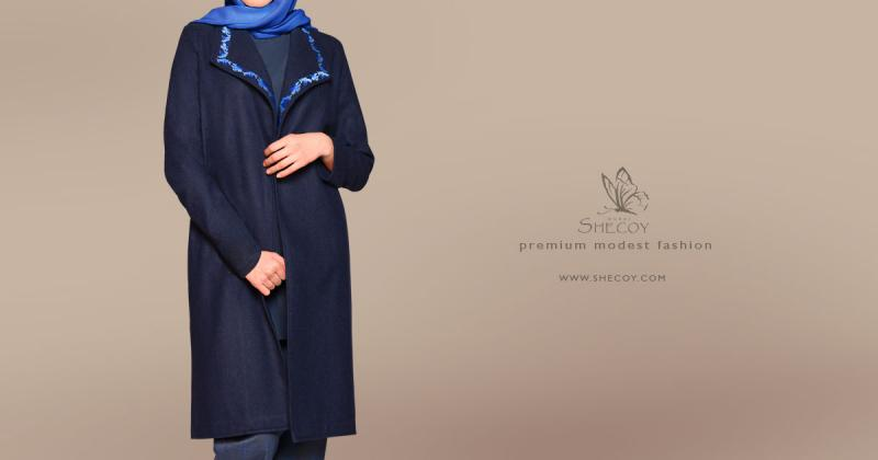 Dark Blue Womens Coat | Long Woolen Coat for Women