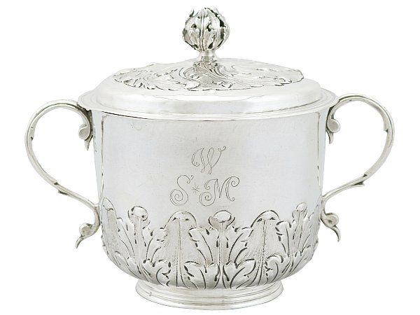 Sterling Silver Porringer and Cover - Antique William III (1689)