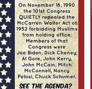 Who repealed the McCarren Walter Act banning Muslims from holding public office?